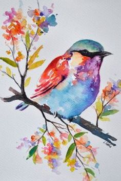 Original Watercolor Bird Painting, Pastel Colored Rainbow Roller, Colorful Watercolor Flowers Inch Original watercolor painting on acid free paper. size: cm / approx Inch Signed and dated on the front. Pastel Watercolor, Watercolor Bird, Watercolour Painting, Painting & Drawing, Simple Watercolor, Watercolor Art Landscape, Watercolor Images, Watercolor Canvas, Watercolor Artists