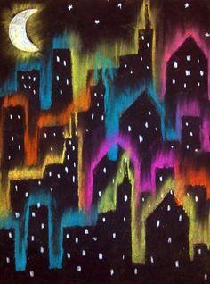 Stadtbild- Kreide auf schwarzem Papier (ausgeschnittene Stadtschablone von Tagboard / Posterboard) Klasse 3-6
