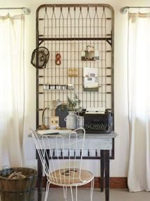 An unusual and whimsical home office space complete with old bed springs as a peg board for found curios to decorate the space. Farmhouse Wall Decor, Farmhouse Style Decorating, Farmhouse Design, Farmhouse Renovation, Wall Decor Design, Deco Design, Design Web, Home Design, Graphic Design