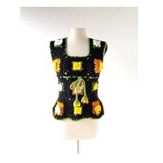 1970s floral crochet granny squares top