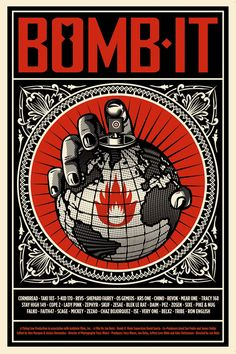 """Bomb It explores the world of contemporary street art from the very first works of Cornbread who is considered as the """"Father of Modern Graffiti"""" to the works of Shepard Fairey (aka Obey) and Ron English. Art Obey, Shepard Fairy, Shepard Fairey Obey, Illustration Photo, Propaganda Art, Protest Art, Political Art, Street Artists, Graffiti Artists"""