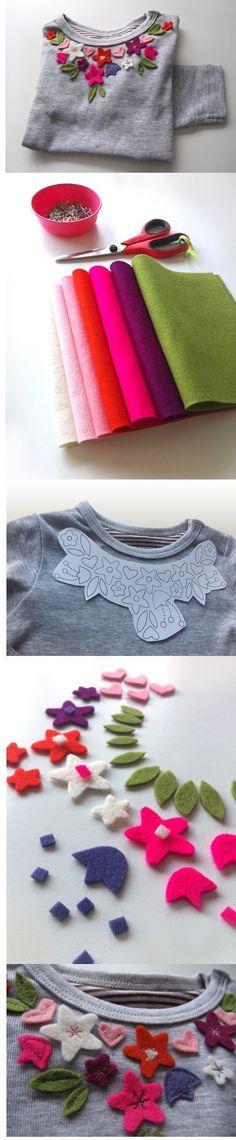bluzka - tutorial z kwiatami kolorowymi