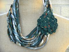 Upcycled Necktie Necklace, Recycled Mens Tie Circle Scarf and Brooch in Emerald Green, White, Tan and Orange OOAK