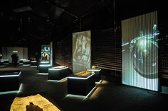 Blue #lighting around the counters really intensifies this setup.   Welcome to Diesel World Exhibition by Nicola Formichetti, Shanghai – China » Retail Design Blog