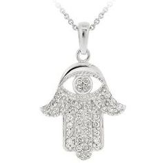 @Overstock - This high-polish cubic zirconia necklace captures the beauty of the Middle East, bringing global charm to any outfit. This pendant features a hamsa design and sparkles with its clear pave-set gemstones. It is easily secured with a spring-ring clasp.  http://www.overstock.com/Jewelry-Watches/Icz-Stonez-Sterling-Silver-Cubic-Zirconia-Hamsa-Necklace/5156695/product.html?CID=214117 $30.59