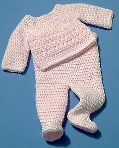 Crochet Patterns Onesie Footed Trousers and Jumper Set Crochet Baby Pants, Baby Girl Crochet, Newborn Crochet, Crochet For Kids, Crochet Clothes, Free Crochet, Knit Crochet, Baby Patterns, Knitting Patterns
