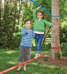 Classic Training Slackline- Would love to make this myself for backyard playground!