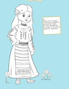 Here's Romania for kids by coloring! You will find all sorts of coloring pages suitable for kindergarten and elementary school kids. Coloring Pages For Girls, Coloring For Kids, Diy And Crafts, Crafts For Kids, Romanian Girls, Transylvania Romania, Day Camp, World Cultures, Elementary Schools