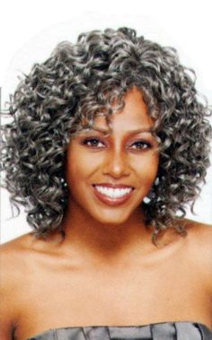 New Arrival Attractive Medium Curly Gray Black 14 Inches Wig Hairstyle Grey Hair Care, Grey Curly Hair, Silver Grey Hair, Short Grey Hair, Braids For Black Hair, Curly Hair Styles, Natural Hair Styles, Silver Wigs, Curly Bob