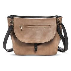Women's Convertible Reversible Crossbody Backpack Handbag - Black/Taupe