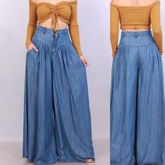 Soft amazingly comfortable Denim Jean trousers with gathered v-shaped front. Made of Denim/Tencel The true color is best displayed on the last (side by side) photo. Wide Leg Denim, Wide Leg Trousers, Palazzo Trousers, Blue Denim, Fashion Pants, Fashion Outfits, Womens Fashion, Pants Pattern, Diy Clothes
