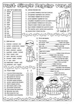 PAST SIMPLE- Regular Verbs worksheet - Free ESL printable worksheets made by teachers English Grammar Tenses, Teaching English Grammar, English Grammar Worksheets, Verb Worksheets, English Verbs, English Fun, Grammar Lessons, Learn English, Printable Worksheets