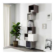 EKET Wall-mounted cabinet combination - white/dark gray/light gray - IKEA