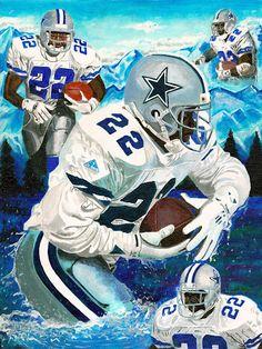 Emmitt Smith, Dallas Cowboys, art, print, giclee, 16x20