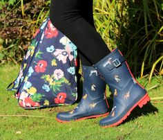 Joules Wellibob Short Height Printed Ankle Wellies Anniversary Floral