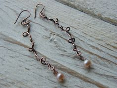 Copper and Pearl Wire Wrap Dangly Earring £14.00