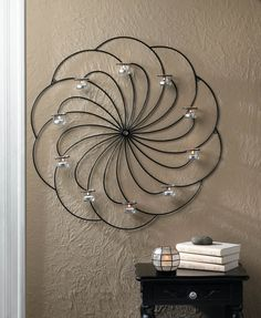 Wholesale Oversized Circular Pinwheel Design Wrought Iron Wall Sconce With 10 Glass Candle Cups