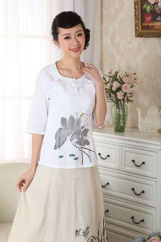 Charming Chinese Women'S Cotton Tops/ T-Shirt Cheongsam White Sz: S M L Xl 2Xl