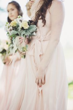 Blush bridesmaid dresses | Photography: Lucida Photography via Style Me Pretty