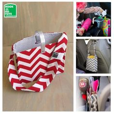 Unique Hook Handle Tote with Attached Strap. 1 of a Kind Patent-Pending Design. Handmade in USA.Car Organizer.Red Chevron w/Black Dots Cream