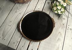 Black Cake Platter  French Vintage Serving by MyFrenchBricABrac