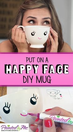 Get happy with this adorable mug that you create using PaintedbyMe Markers and Mug.  Another thing to be happy about? This mug is food and dishwasher-safe!