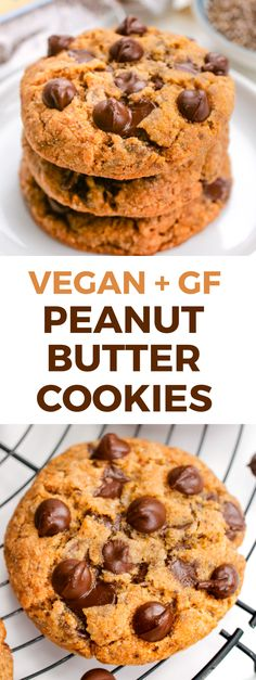 Vegan peanut butter cookies with an amazing chewy texture and lots of peanut butter flavor. They're also grain-free and gluten-free with paleo and keto / low-carb options. Everyone loves these! Cookies Gluten Free, Vegan Peanut Butter Cookies, Vegan Gluten Free Desserts, Gluten Free Peanut Butter, Vegan Dessert Recipes, Healthy Cookies, Vegan Sweets, Low Carb Desserts, Yummy Cookies
