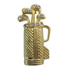 Vintage Shiny Gold Tone Golf Bag Brooch w/ Golf Clubs Pin Brooch Gift