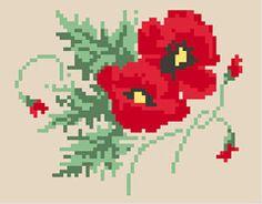 Poppy Flower free cross stitch pattern