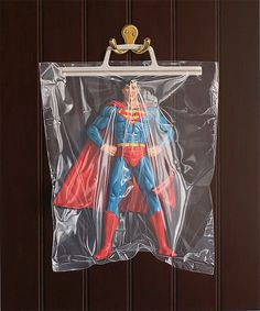 "Photorealistic Trapped Superheroes by Simon Monk    Fantastic photorealistic paintings of superhero figures trapped in transparent carrier bags by Simon Monk.    ""Each painting is slowly and gradually built up from many thin, translucent layers of paint over a number of months. The subjects are painted directly from life rather than photographs in an attempt to represent the subjects with simple clarity and truthful illusion."""