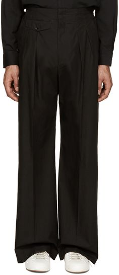 Lemaire - Black Pleated Wide-Leg Trousers