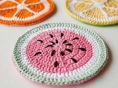 Boring potholders begone! With these bang-on-trend tutti-frutti beauties, you'll never look at a plain old potholder in the same way again. If you've always wanted to learn how to crochet, follow our series of Crochet Fundamentals. This pattern uses US terms and stitches include double crochet (dc), slip stitch (sl st), and chain (ch).