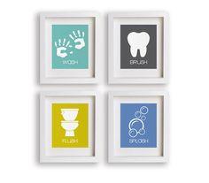 Art premier bébé imprimer Flush Kids Art de salle par NikoAndLily