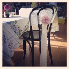 Vintage lace wedding chair back for bride and grooms chair. Can be in black or white