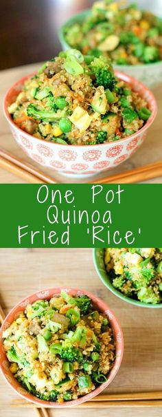 Quinoa Fried Rice is the perfect lower carb make at home version of the classic fried rice. Made in one pot and loaded with broccoli, eggs, mushrooms, carrots, peas, corn, it's the perfect easy healthy meal or side dish.