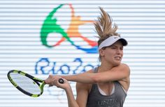 Canadian tennis player Eugenie Bouchard from Montreal practices prior to the start of the Olympic Games in Rio de Janeiro, Brazil. (Jason Ransom/The Canadian Press)