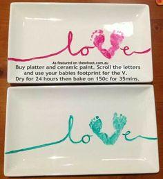Baby footprint plate DIY