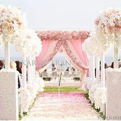 Pink pastel wedding ceremony decoration.