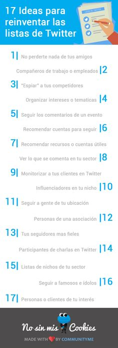 17 ideas para reinventar las listas de Twitter #infografia #infographic #socialmedia