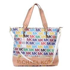 Michael Kors Classic Monogram Large White Multicolor Totes.More than 60% Off, I enjoy these bags.It's pretty cool (: Check it out! | See more about michael kors, michael kors outlet and outlets.