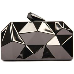 WithChic Irregular Geometrical Metallic Box Clutch Bag (670 CZK) ❤ liked on Polyvore featuring bags, handbags, clutches, purses, сумки, accessories, metallic box clutch, silver hand bag, geometric purse and silver metallic handbags
