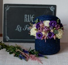 Hat box with flowers Created and designed by 'Flowers by Ana' Floral Design, Boxes, Hat, Create, Flowers, Wicker Baskets, Chip Hat, Crates, Floral Patterns