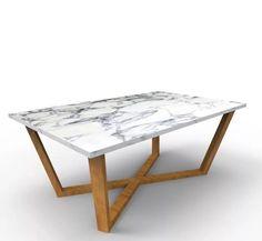 mesa ratona con tapa de marmol y madera de 1,10 x 70