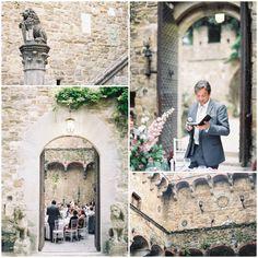 Castello Di Vincigliata romantic stone courtyard where dinner & speeches were held