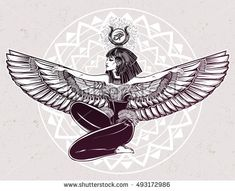 Egyptian diety Isis with outstratched wings. Isis is goddess of health, magic, and love. In Mesopotamian religion her name is Tiamat. Spirituality, occultism, tattoo art. Isolated vector illustration.