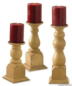 Pearwood Pillar Holder Set by Park Designs at The Country Porch
