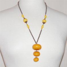Vintage Bakelite Necklace Butterscotch Yellow by 4dollsintime, $95.00