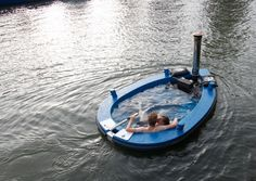 This is HotTug, a hot tub/tugboat hybrid with a wood-burning heater to keep the water warm and a little motor to zoom you around the lake or canal while you're getting crunk on champagne.