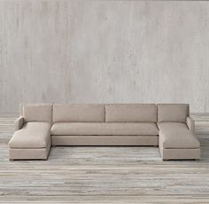 The Petite Belgian Slope Arm Preconfigured Upholstered U-Chaise Sectional