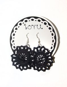 Crocheted earrings in black.